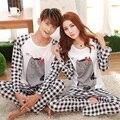 Manga longa Conjuntos de Pijama Homens E Mulheres Sleepwear Casal Animal Dos Desenhos Animados Pijamas Tops e Calças Xadrez Cinza Bottoms LP5