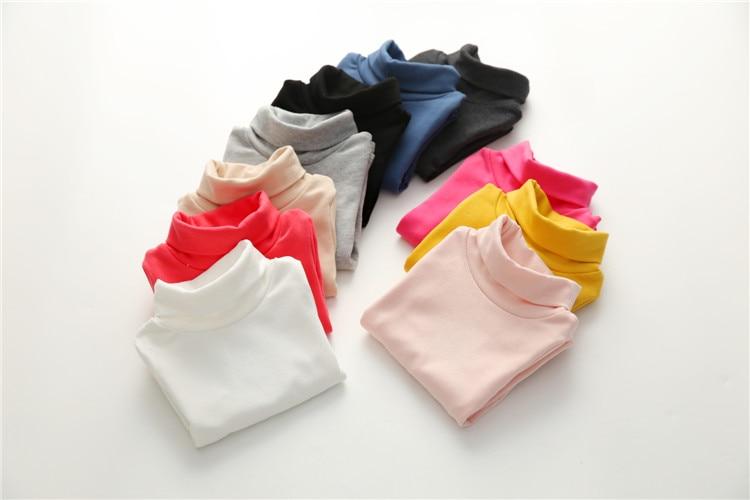 2018 Spring Autumn 2-10T Years Children'S Candy Color Sweet Long Sleeve High Neck Unisex Kids Girl Boy Basic Turtleneck T-Shirt (24)