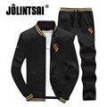 Jolintsai Casual Outono/Primavera Homens Agasalho 2017 Homens Plus Size 4XL Sportwear Sweatershirt + Calça Conjunto Suor Sudaderas Hombre
