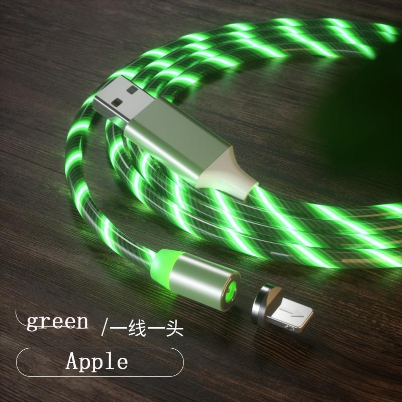 1 м Магнитный зарядный кабель для мобильного телефона, usb type C, светящийся провод для передачи данных для iphone Samaung huawei, светодиодный Micro Kable - Цвет: green for iphone