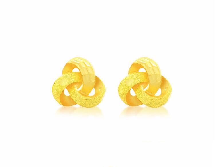 Fashion Elegant New 24k Yellow Gold Earrings Women Happiness Flower Stud Earrings 3.41g