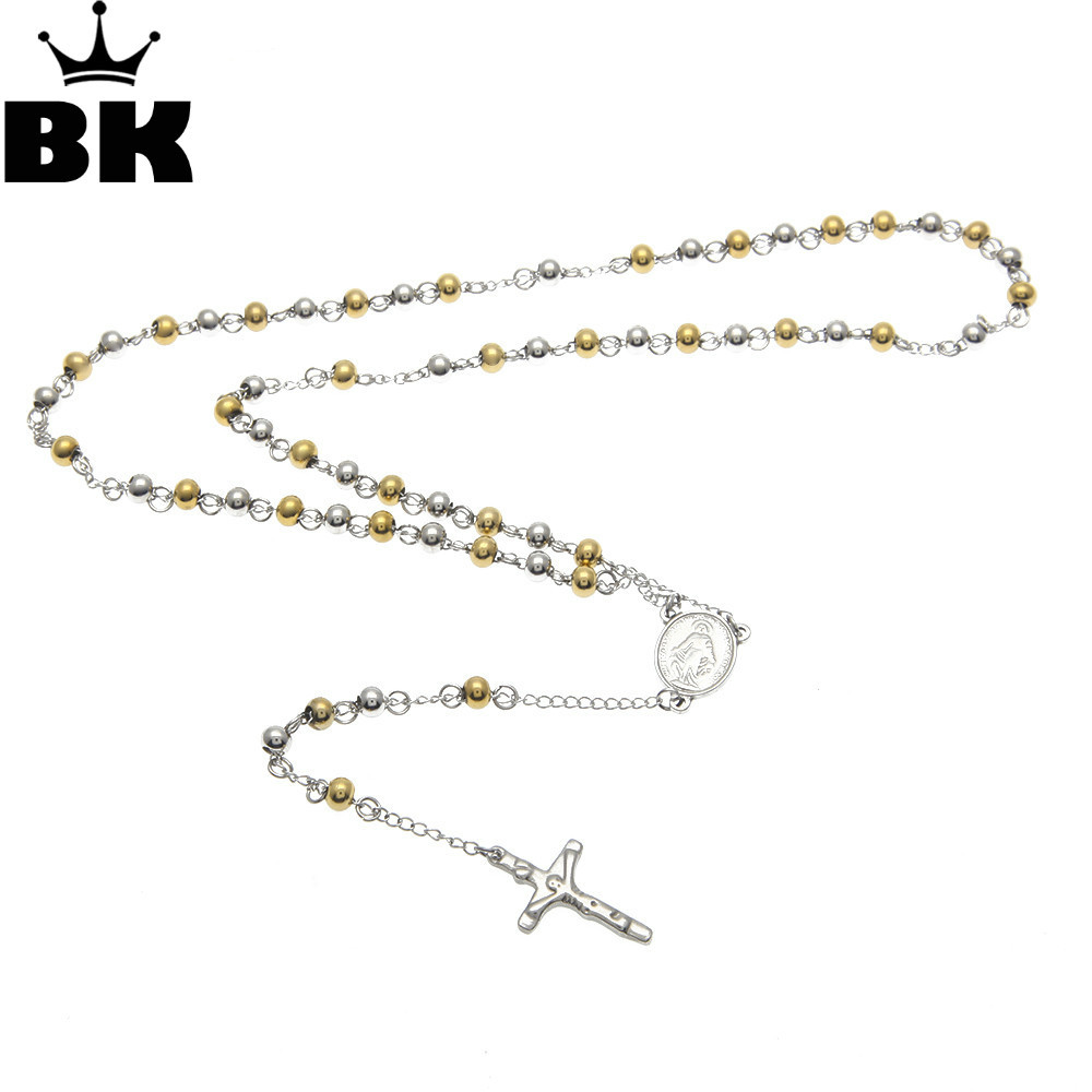 18-Inch Rhodium Plated Necklace with 4mm Jet Birthstone Beads and Sterling Silver Saint Bruno Charm.