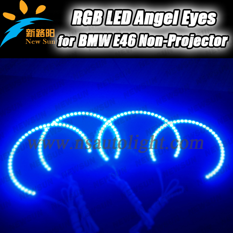 Wireless Remote Control 5050 SMD RGB Led Angel Eyes for bmw E46 Non Projector coupe/cabrio 131mm 145mm Headlight Kits led rings white 3014 smd led angel eyes headlight halo ring marker 131mm 145mm for bmw e46 non projector