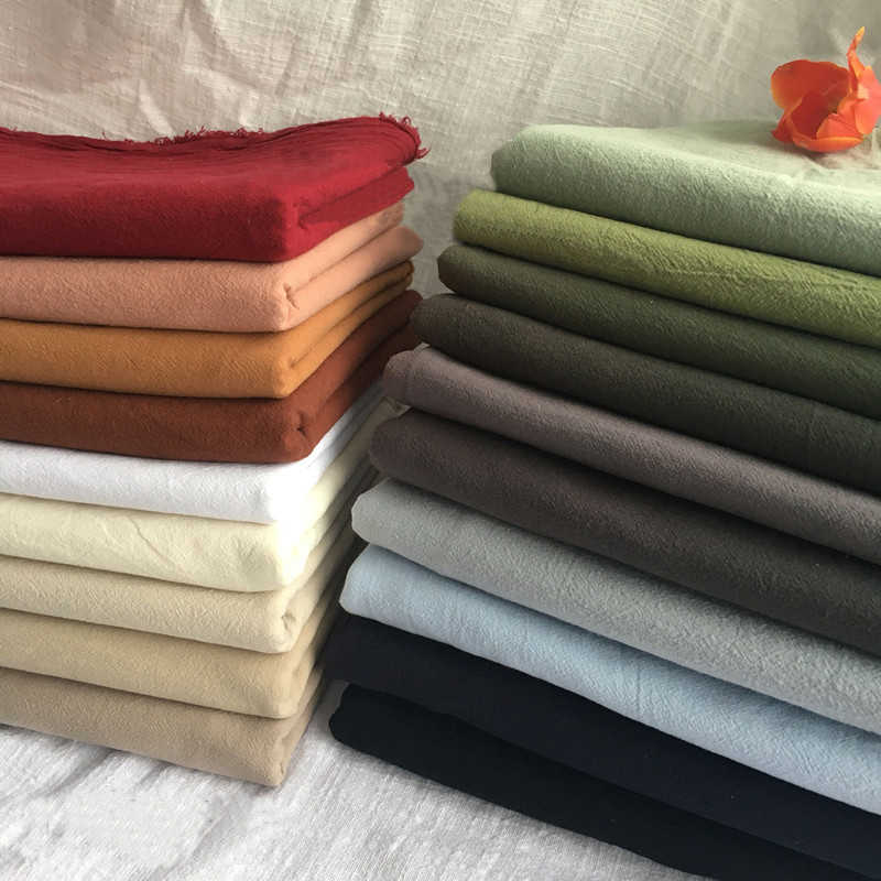 breathable shirt material washed plain cotton crepe fabric summer