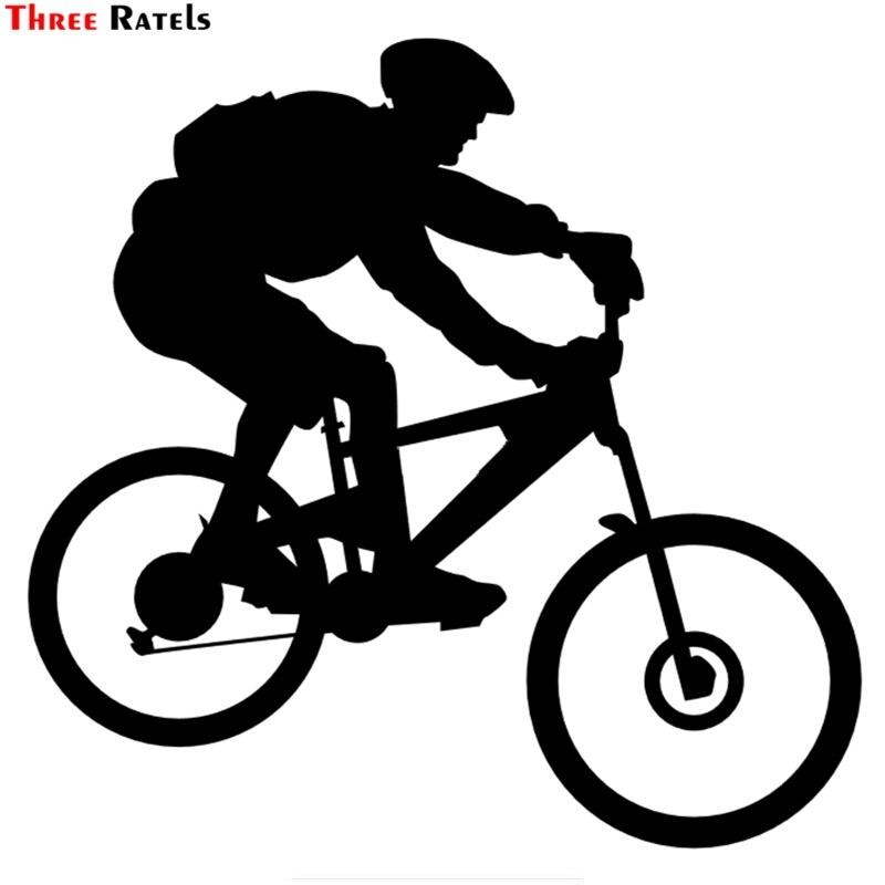 Three Ratels TZ-1464#15*15.4cm Biker Bicycle Cyclist Car Stickers Funny Auto Sticker Decals