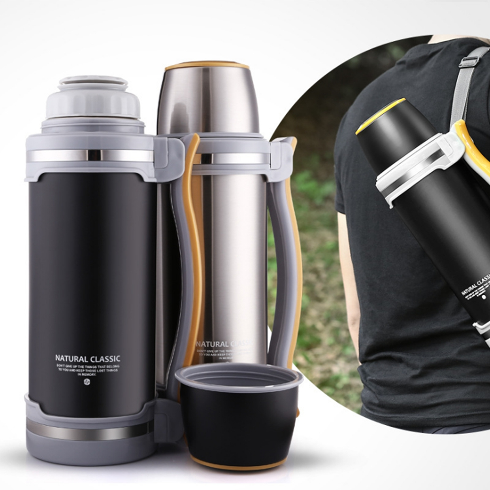 SUS304 STAINLESS STEEL VACUUM INSULATED POT FLASK LARGE CAPACITY 2L OUTDOOR SPORT TRAVEL THERMOS 36HOURS THERMAL INSULATION