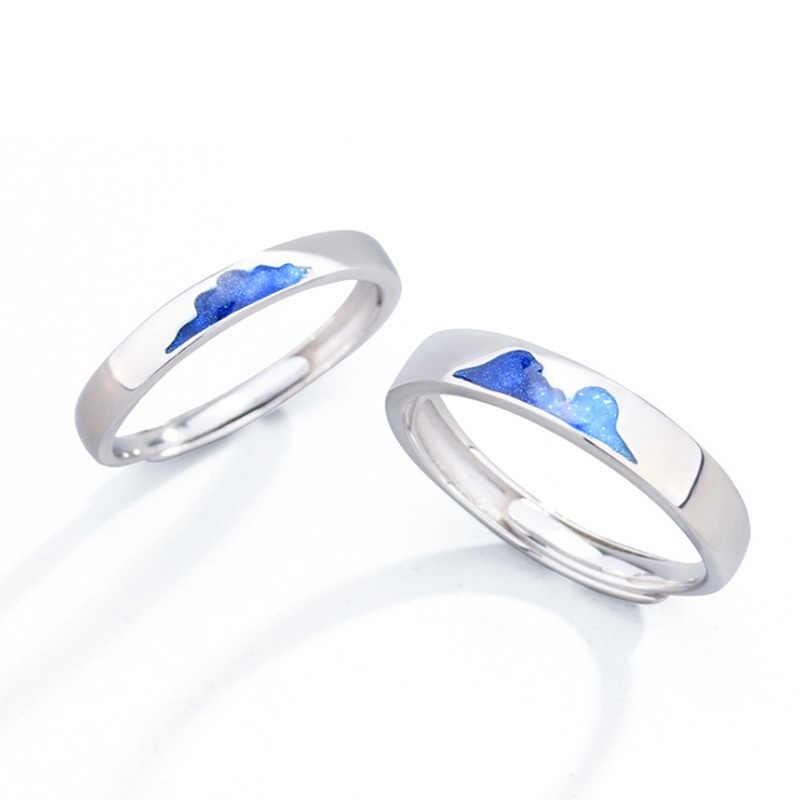 Anillos de pareja de plata con encanto azul de Montaña de Hielo anillos ajustables 925 Anillos de Compromiso de boda de Iceberg para mujeres y hombres joyería de moda
