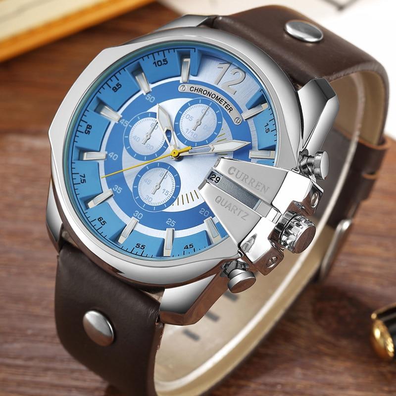CURREN Men's Top Brand Luxury Quartz Watches Men's Sports Quartz-Watch Leather Strap Military Male Clock Fashion Gold Clock