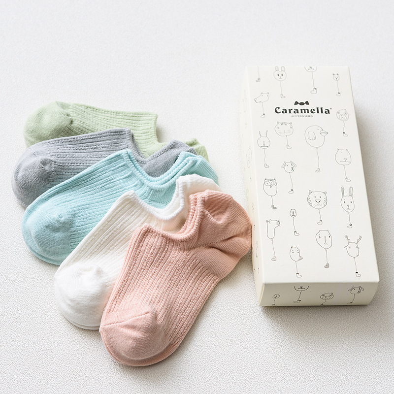 OLN Gift box spring summer candy color cotton for women 5 pairs cute boat socks female fashion twist stripes ankle socks EU36 46