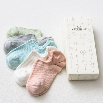 OLN Gift box spring summer candy color cotton for women 5 pairs cute boat socks female fashion twist stripes ankle socks EU36-46