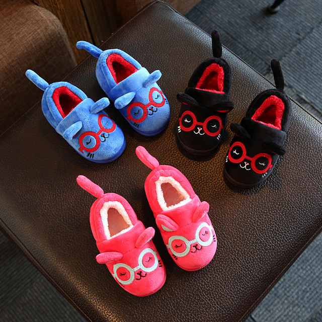 2016 christmas winter children home shoes cotton-padded shoes cute dogs and cats baby kids shoes baby thermal outfits shoes