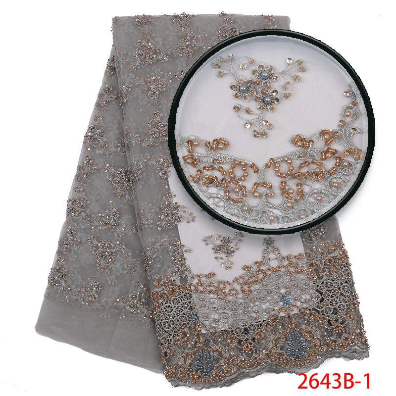 Handmade Lace Nigerian Beaded Lace Fabrics African French Lace Fabric 2019 High Quality Lace Tulle For Party Dress YA2643B-1