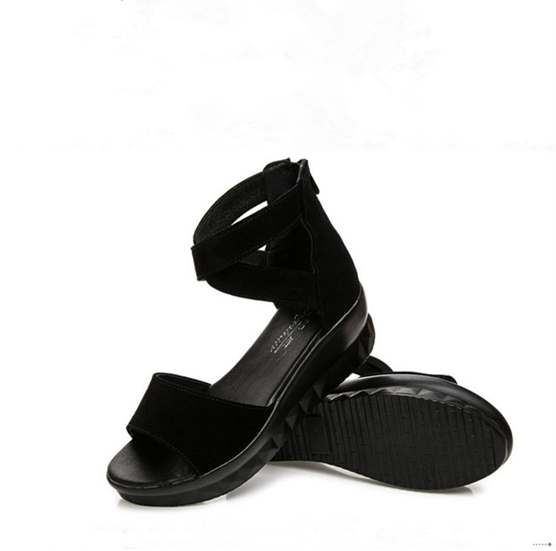 Summer Women Shoes Platform Sandals Shoes Women Open Toe Real Leather Sandals Flat Female Sandalias Mujer Sandalias Wedges in Middle Heels from Shoes