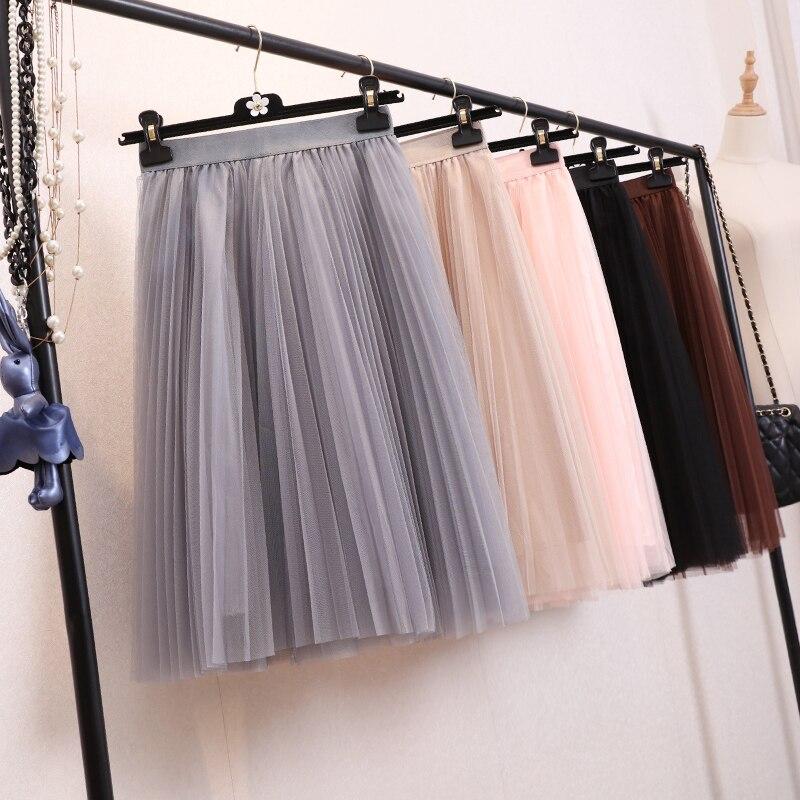Womens Skirt 2018 Summer Midi Tulle Skirts Female A-line High Waist Tutu Pleated Skirts For Women School Sun Pleated Skirt Black