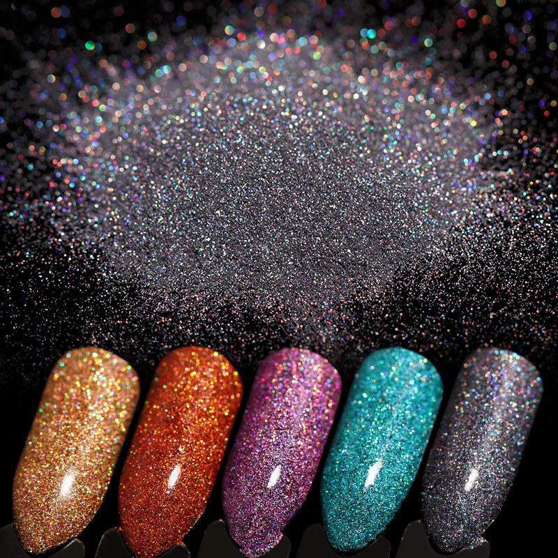 1 Box Holographic Laser Nail Powder Gold Blue Black Ultra-thin Shining Manicure DIY Glitter Powder Nail Art Decoration Accessor