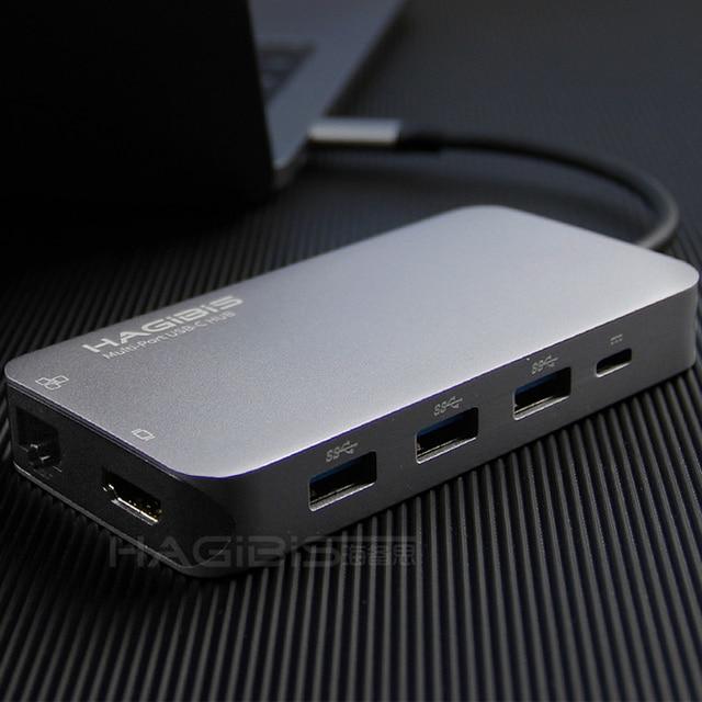 Hagibis 9-in-1 USB C Type-c HUB 3.0 USB-C to HDMI 4K SD/TF Card Reader PD charging Gigabit Ethernet Adapter for MacBook Pro HUB USB Hubs