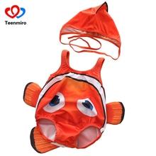Baby Clown Fish Nemo stroje kąpielowe 2 sztuk Cartoon bez rękawów kostium kąpielowy dla chłopców dziewcząt 2019 maluch niemowląt strój kąpielowy kostiumy kąpielowe kapelusz tanie tanio Teenmiro Poliester COTTON Dla dzieci Unisex Pasuje prawda na wymiar weź swój normalny rozmiar