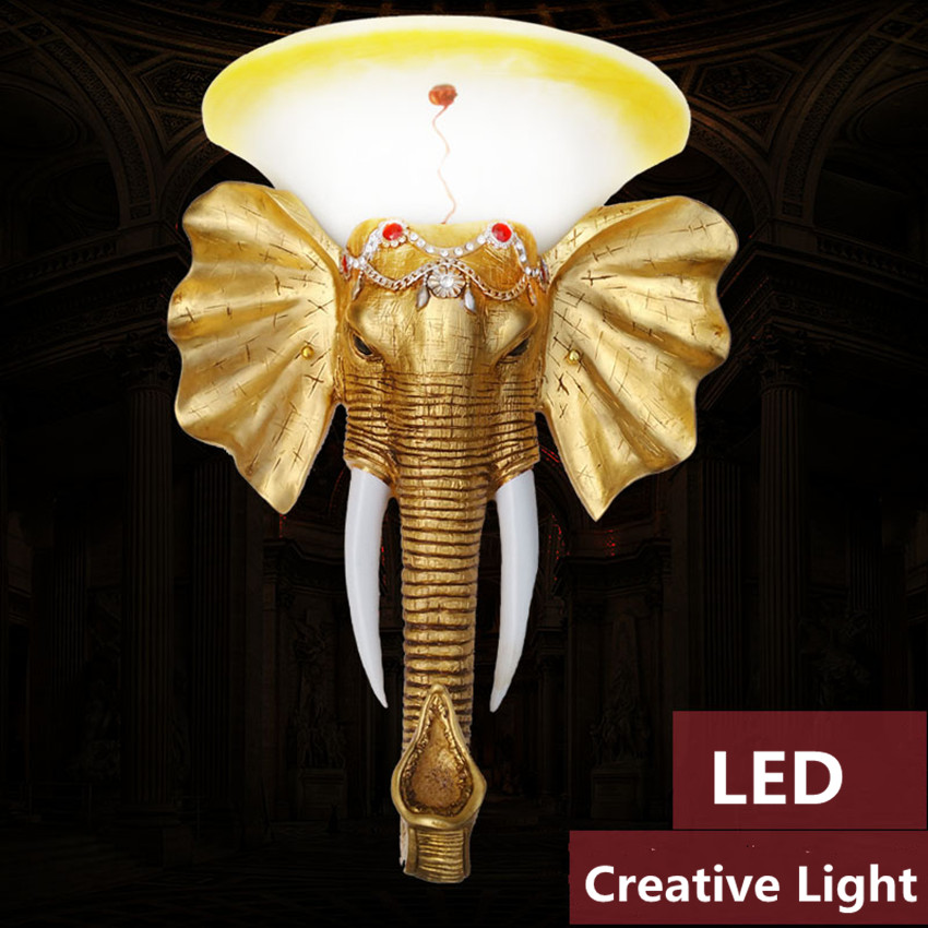 Geely elephant wall lamp staircase entrance hall aisle bar bedroom creative animal LED European hotel project wall lamp 220V tiffany restaurant in front of the hotel cafe bar small aisle entrance hall creative pendant light mediterranean df66