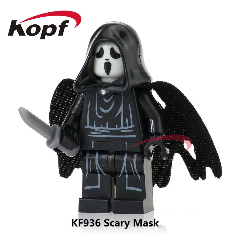 Single Sale Scream Killer Halloween Costume Scary Mask The Horror Theme Movie Bricks Building Blocks Children Gift Toys KF936 2pcs lot harry potter series death eater mask halloween horror malfoy lucius resin masks toy private party cosplay toys gift