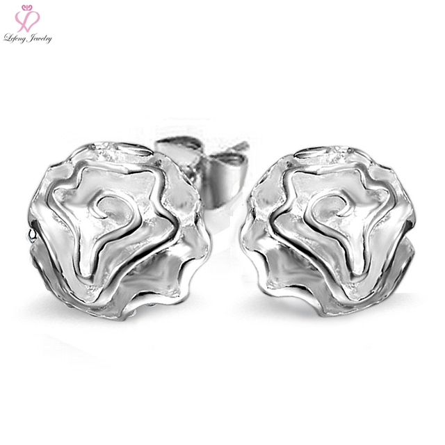 7b720a62fcae6 US $3.22  Lefeng Created Rose Flower Silver Plated Stud Earrings Jewelry  for Women Cute Korea Earring Girl Jewellery Gift-in Stud Earrings from ...