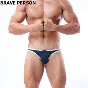 Brave Person Mens Bikini Underwear Briefs Nylon Breathable Men Sexy Briefs Low Waist Underpants Slip Pouch Bulge Male Lingerie