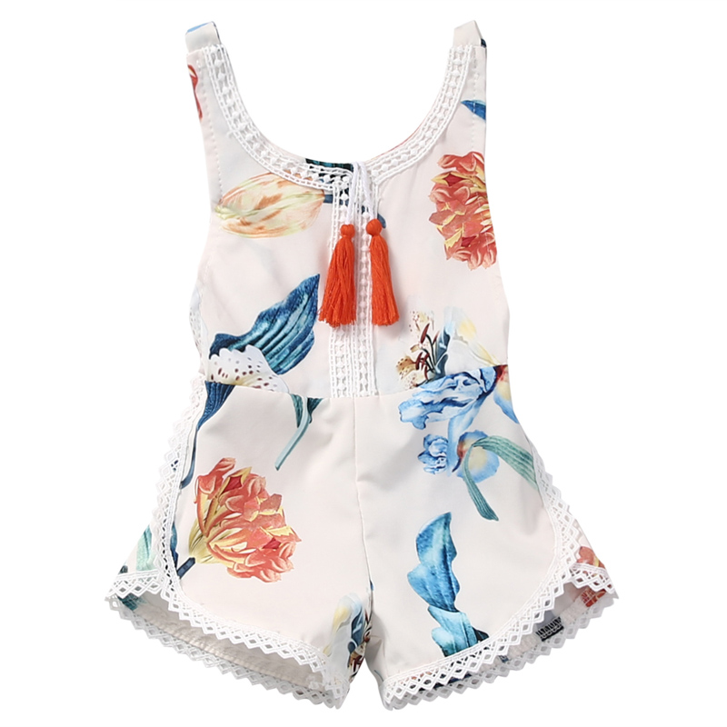 2017 Newborn Baby Girl Sleeveless Lace Romper Lily printing Summer Toddle kids Jumpsuit Clothes Sunsuit Outfits