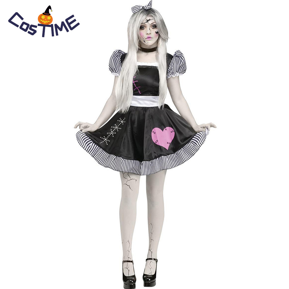 Halloween Costumes Scary Women.Women S Broken Doll Costume Porcelain Doll Ghost Fancy Dress Zombie Girl Roleplay Scary Halloween Costume For Girls And Adult