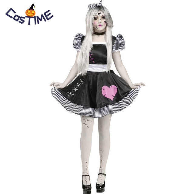 455a4a81eda50 Women's Broken Doll Costume Porcelain Doll Ghost Fancy Dress Zombie Girl  Roleplay Scary Halloween Costume for Girls and Adult