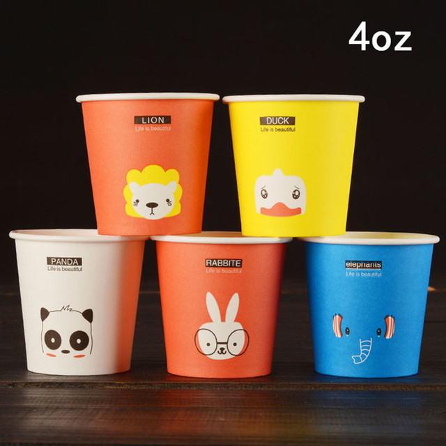 300 X 4oz Disposable Thicken Cold Hot Drink Paper Cups Cute Animal Style Coffee Tasting