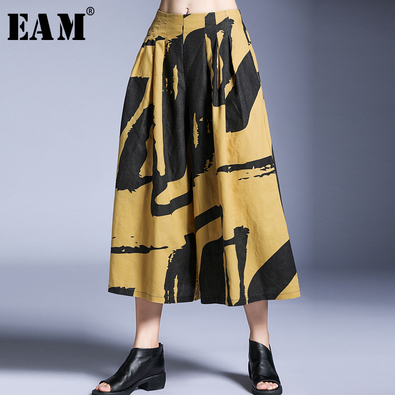 [EAM] 2019 New Spring Summer High Elastic Waist Pattern Printed Loose Long   Wide     Leg     Pants   Women Trousers Fashion Tide JT328