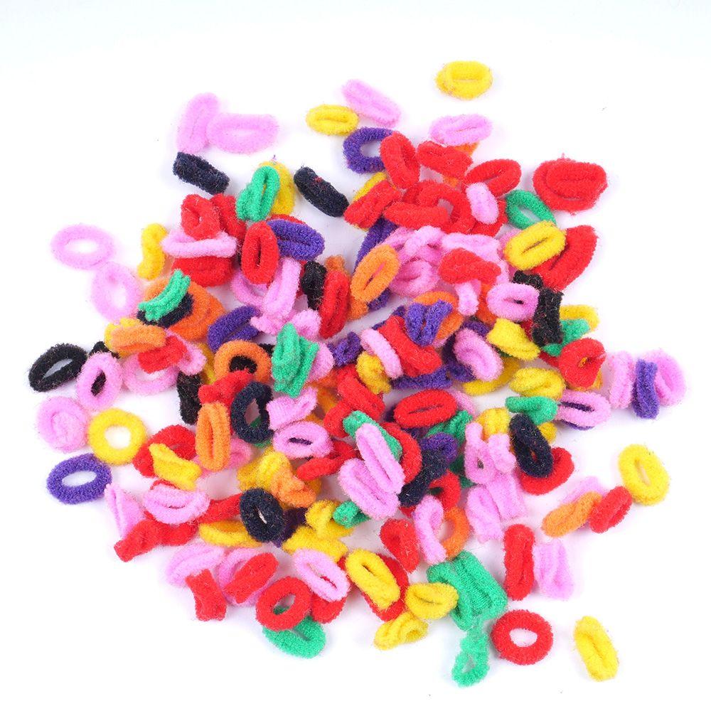 200 Pcs Colorful Child Kids Hair Holders Cute Rubber Hair Band Elastics