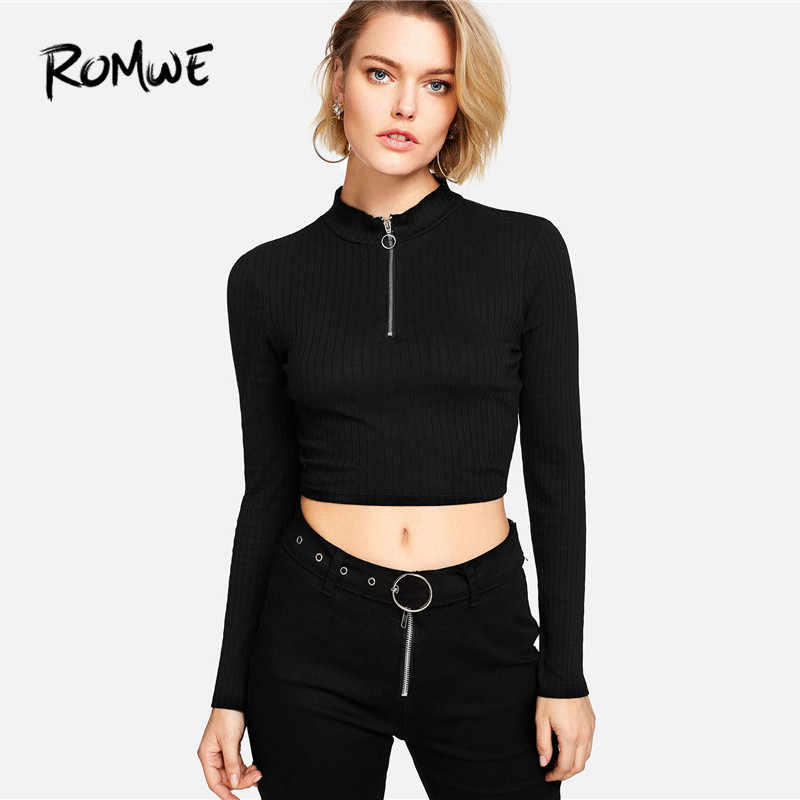 8aab4f4281 ... ROMWE Ring Zip Up Front Ribbed Crop Tee Black Zipper Stand Collar T  Shirt Fall Plain ...
