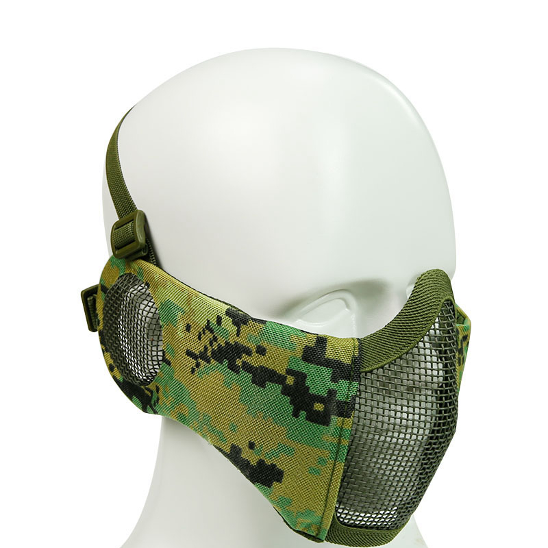 Tactical Half Face Ear Protection Mask Steel Mesh Military Airsoft Mask Outdoor Shooting Hunting Paintball Masks Accessories
