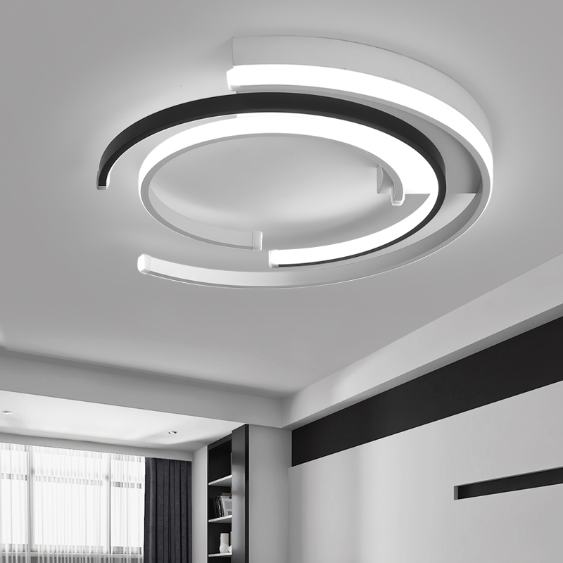 L ustre de plafond moderneที่ทันสมัยนำโคมไฟเพดานห้องนั่งเล่นห้องนอนโคมไฟp lafonnierสีขาวสีดำรอบLEDโคมไฟเพดาน