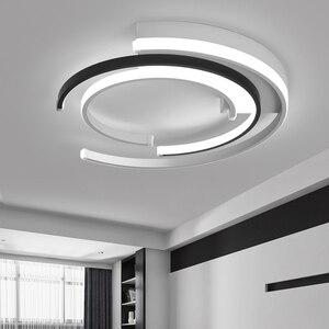 Image 1 - Lustre de plafond plafonnier moderne Modern LED Luzes de Teto sala de estar Quarto luminária Branco Preto LEVOU Rodada Lâmpada Do Teto