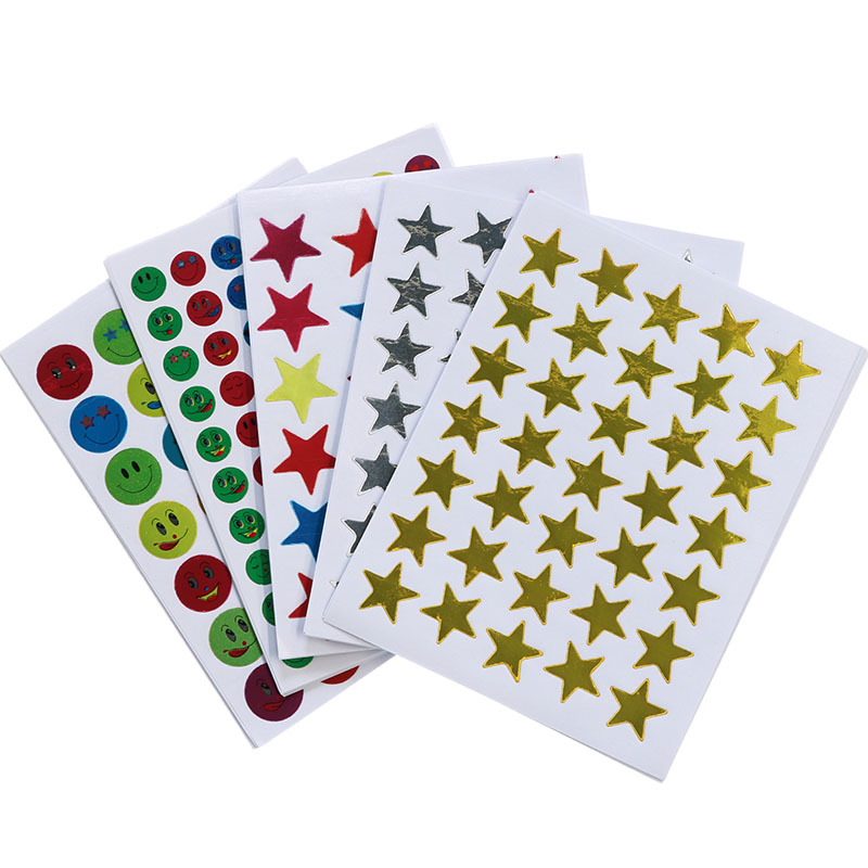 10pc / Bag, Children'S Gold Mini Kindergarten Reward Stickers Teacher Praise Praise Label Award Pentagram Smiley Golden Sticker