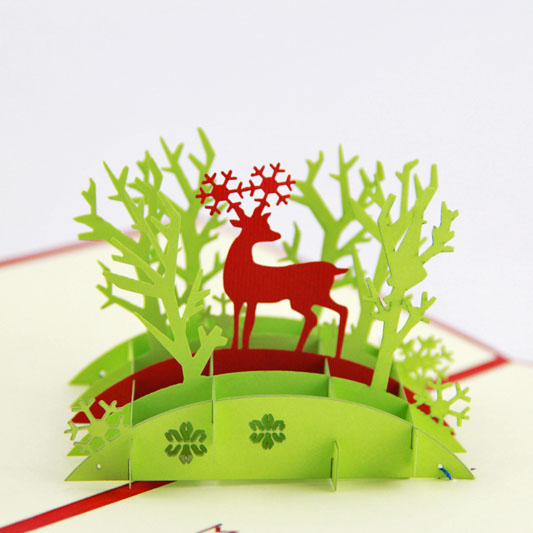 The jungle fawn Christmas card /3D  kirigami card/ handmade greeting cards gift for men  Free shipping 30pcs in one postcard take a walk on the go dubai arab emirates christmas postcards greeting birthday message cards 10 2x14 2cm