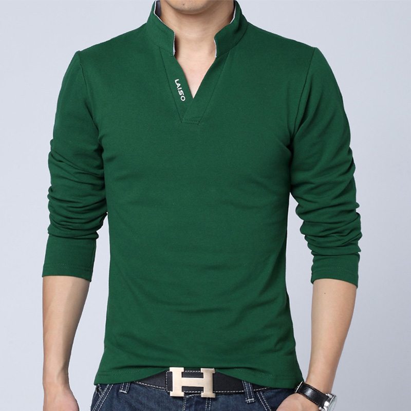 2018 Pure Color Men's Long-sleeved Cotton POLO Shirt  S M L XL 4XL 5XL White Green Grey Red Black Fashion Casual Man POLO Shirts