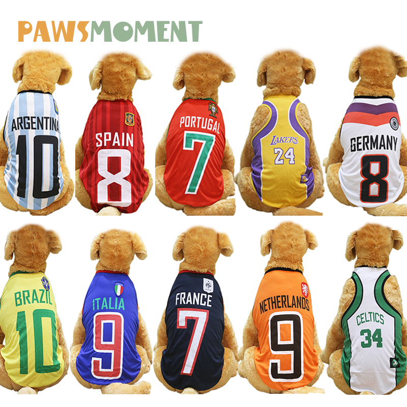 2018 Hot Pet Summer Clothes for Dogs Spring Soccer NBA Jersey Soft Breathable Vest Tshirt for Cat Small Large All Dogs XS-6XL image