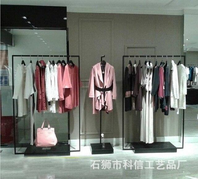 8e97c052037a Pavimento vestiti abbigliamento display espositori di abbigliamento  cremagliera C Ferro scaffale negozio di abbigliamento di lusso