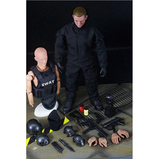 """¡ CALIENTE! NUEVO 1 unids 12 """"1/6 SWAT Negro Uniforme de Combate Del Ejército Militar Juego Juguetes Soldado Set con Caja Al Por Menor Figura de Acción Juguetes Modelo E"""