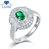 Solid 14K White Gold Natural Round Baguette Diamond Green Colombia Emerald Promised Rings For Engagement Fine