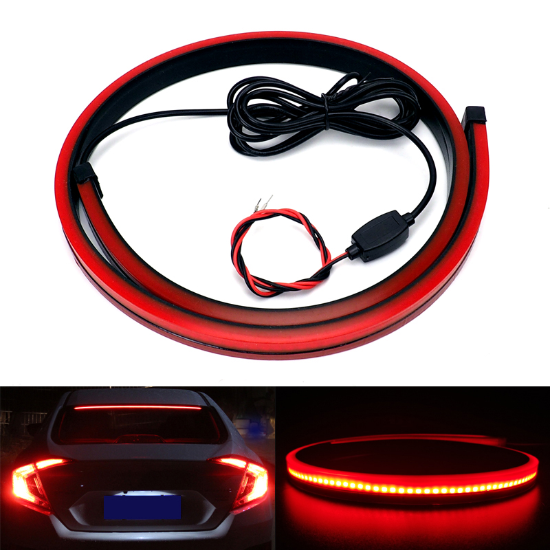 Universal 90cm Flexible Car LED Light High Mount Stop Rear Tail Warning Strip Interior Lights Auto Third Additional Brake Lamp
