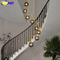 Alcachofra FUMAT Pássaro Do Ouro Lâmpada Do Teto De Vidro Bola Lustre Spiral Staircase Villa G4 LED Estilo Moderno Penthouse Luzes de Camadas