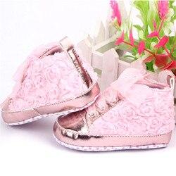 Bebê meninas outono sapatos da criança sola macia rosa flores crianças sapatos infantis rendas