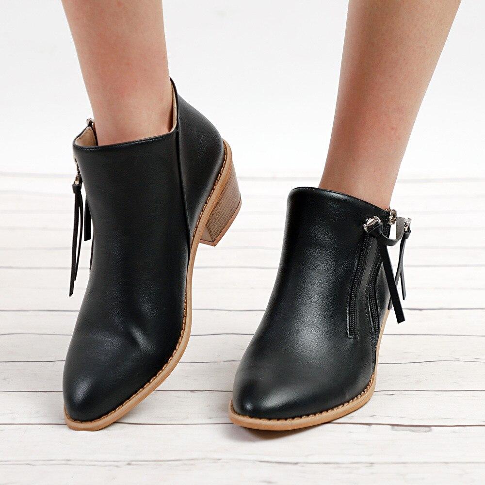 De Cremallera Las Mujeres Casuales Pie Tacón Botas Black Señoras Corto Zapatos Del Invierno Tobillo Cuero gray yellow Cortas Dedo 2018 I1wSxdqI