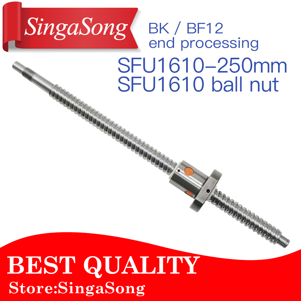 16mm 1610 Ball Screw Rolled C7 ballscrew SFU1610 250mm with one 1610 flange single ball nut for CNC parts ballscrew sfu1610 l200mm ball screws with ballnut diameter 16mm lead 10mm