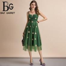 Baogarret New Fashion Runway Summer Dress Womens Spaghetti Strap Overlay Mesh Floral Embroidery  Elegant Party Midi