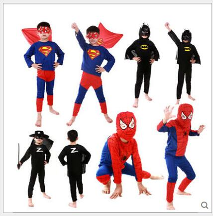 1sets  kids superhero costume Spiderman Batman Superman costumes set cloths boys birthday Party children super hero cape N680