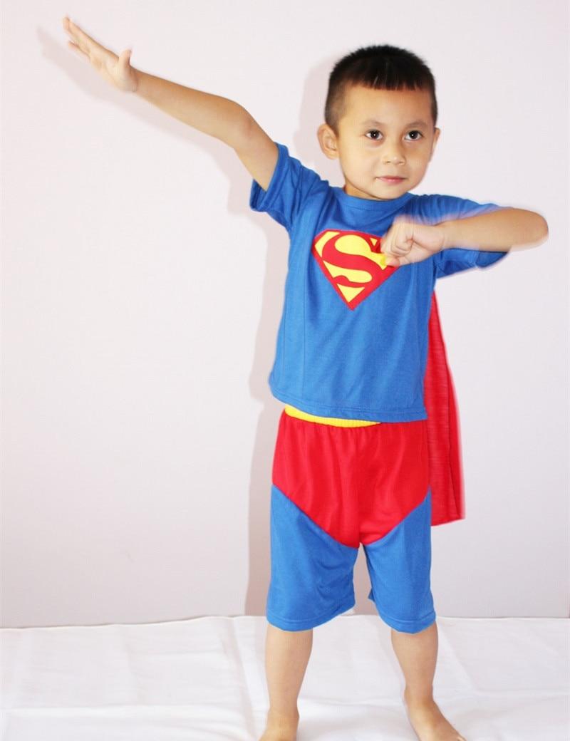 3-7Years Kids Superman Costume Halloween Party Costume Boy Superhero Cosplay Short Sleeve T-Shirt+Short Pants Set S-XXL